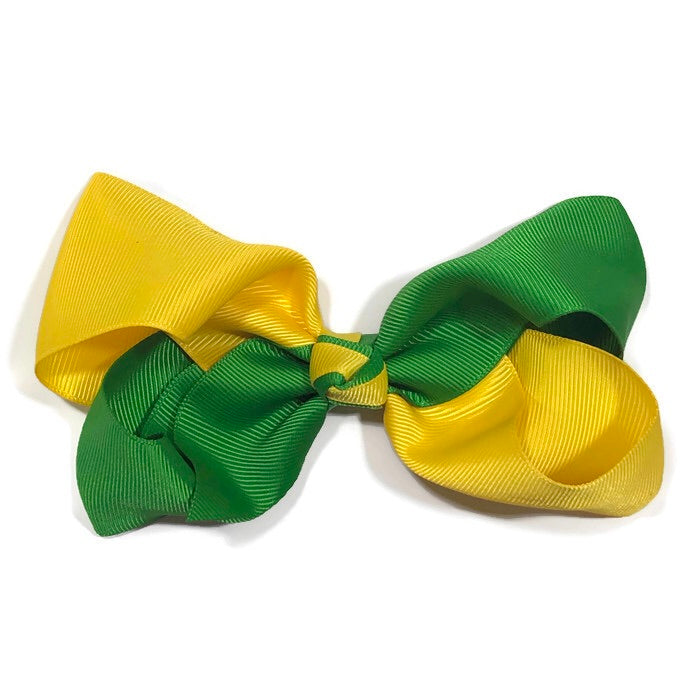 Jumbo Kelly Green and Gold Hair Bow