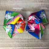 Jumbo Rainbow Unicorn Hair Bow - Cutie Bowtutie