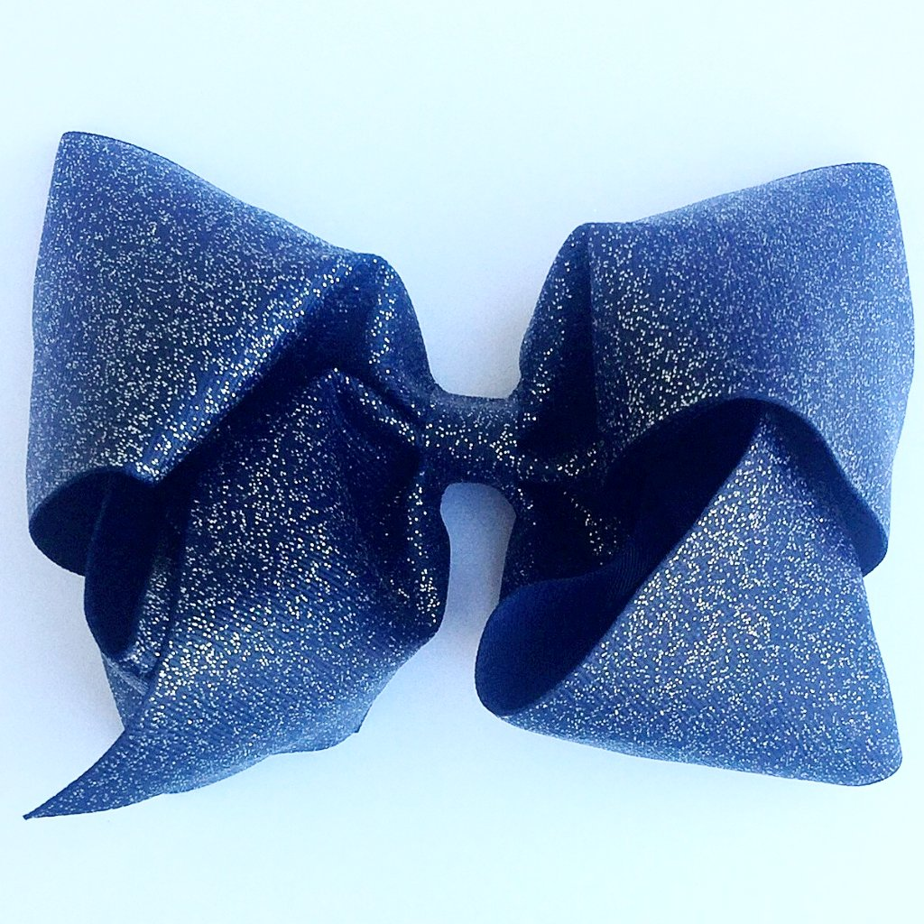 Boutique Gigantic Hair Bow - Navy Glitter