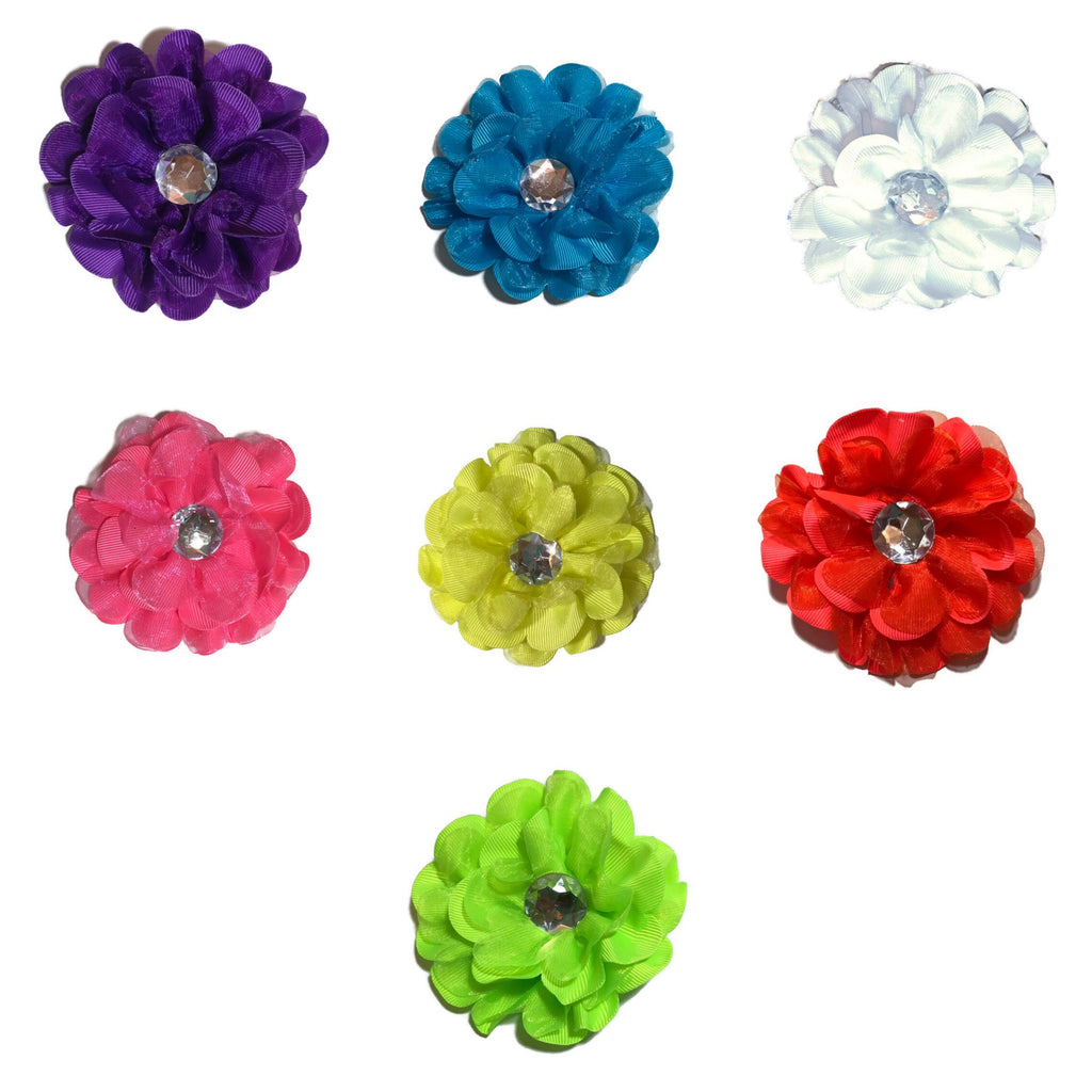 Grosgrain Rhinestone Flower - Large