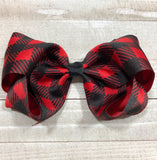 Gigantic Handmade Hair Bow - Red and Black Buffalo - Cutie Bowtutie