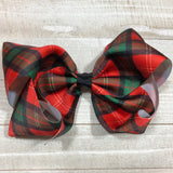 Gigantic Handmade Hair Bow - Red and Green Plaid - Cutie Bowtutie