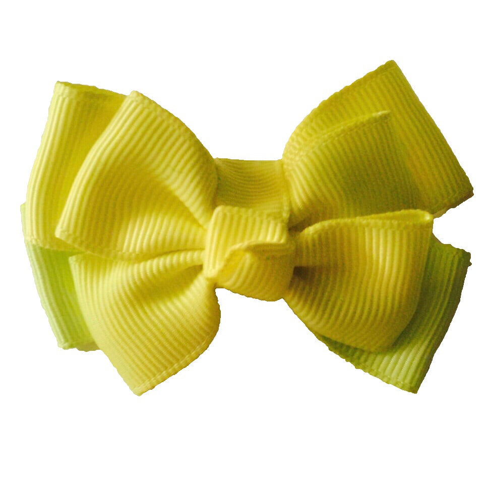 Small Double Stacked Neon Hair Bow - Cutie Bowtutie