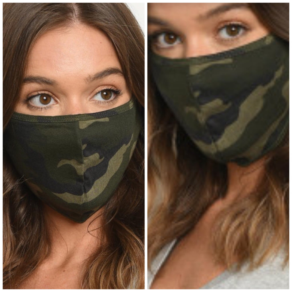 Reusable Face Mask - Dark Green Camo