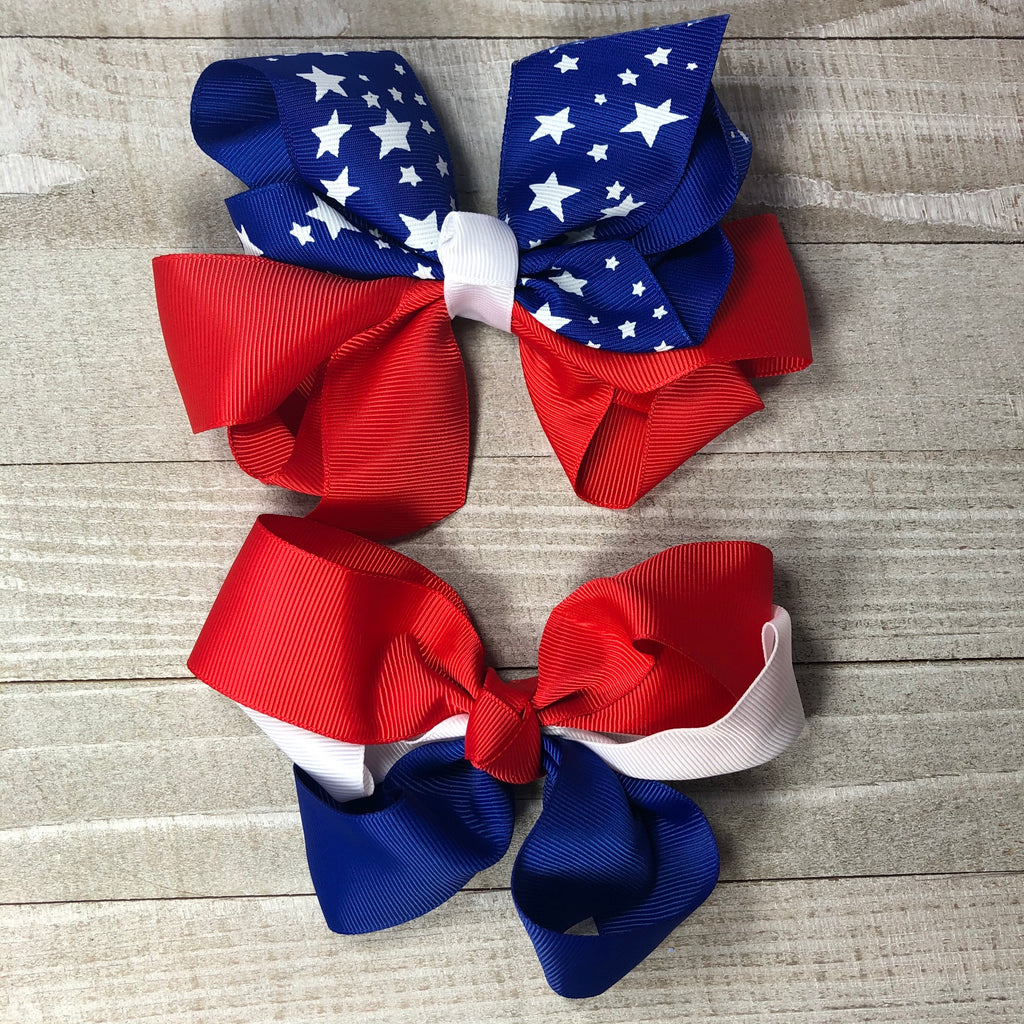 Jumbo Red White and Blue Hair Bow
