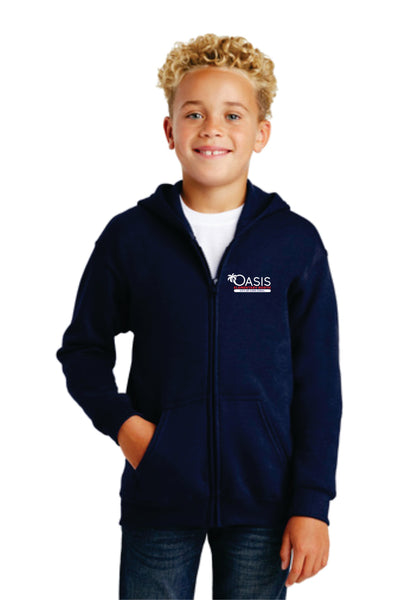 Gildan® OEN Youth Heavy Blend™ Full-Zip Hooded Sweatshirt G186B