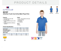 8210Y UltraClub Youth Cool & Dry Mesh Piqué Polo OES