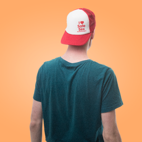 Red Aware Safe Sex Trucker Cap Hat - YEAH Shop