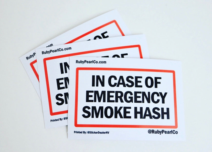 In Case of Emergency Smoke Hash Sticker (Black)