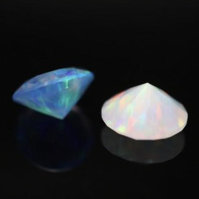 8mm Diamond Cut Opal (White and Blue)