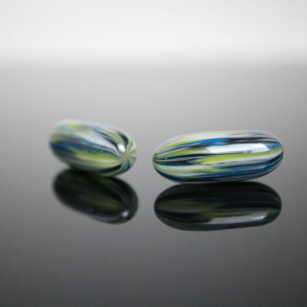 Green/Blue/White Tye Dye Terp Slurper Pill by Quasar Glass