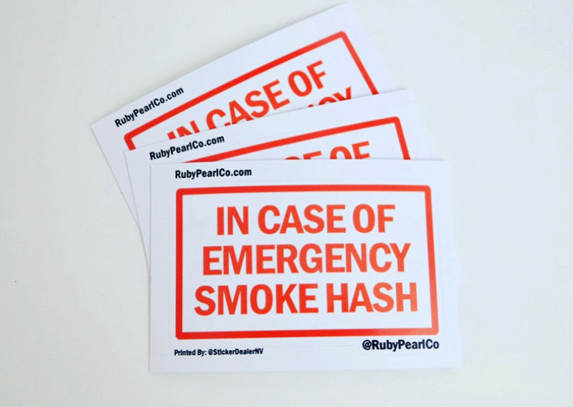 In Case of Emergency Smoke Hash Sticker (Red)