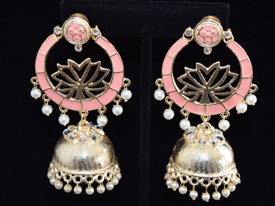 Lotus Meenakari Jhumkas Earrings