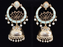 Load image into Gallery viewer, Lotus Meenakari Jhumkas Earrings