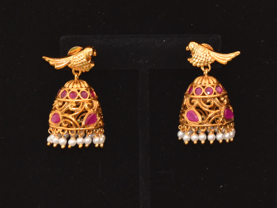 Indian Antique Jewellery Earrings parrot  jhumkas