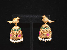 Load image into Gallery viewer, Indian Studded Ruby Emerald stones parrot Earrings