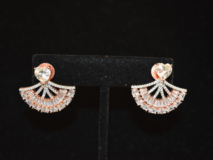 Arya American Diamond Rose Gold Earrings