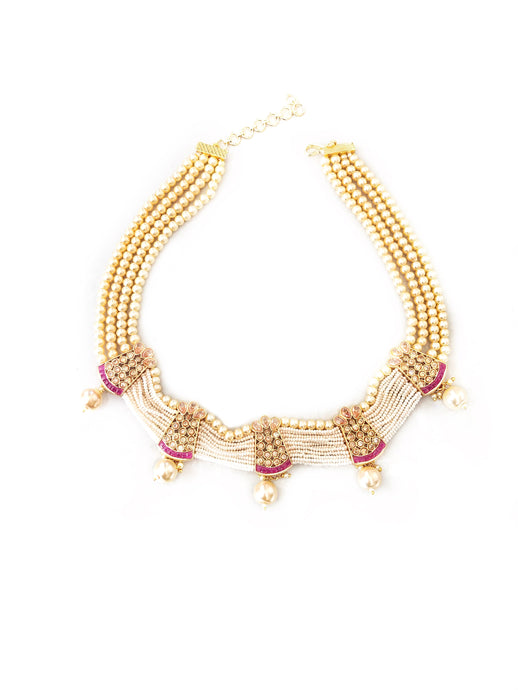 Pearl Necklace set With LCT Ruby Stones