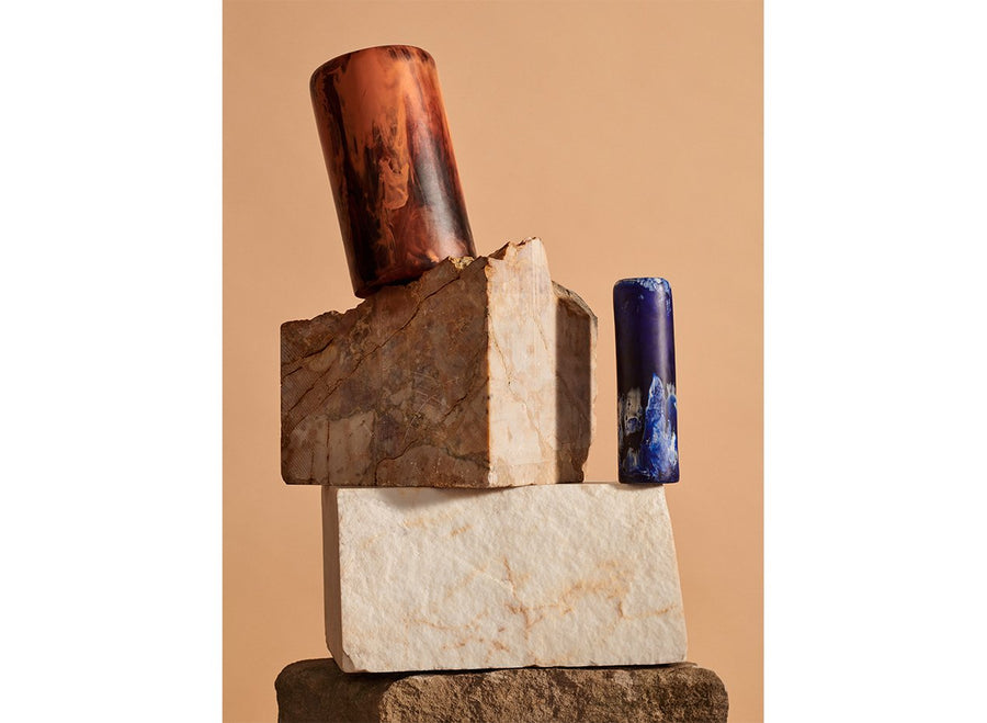 Small Resin Organic Column Vase - Lapis Swirl