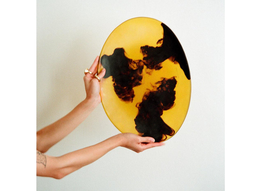 Long Resin Temple Platter - Tortoiseshell