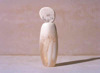 Tall Resin Skipping Stone Vase - Snow Swirl