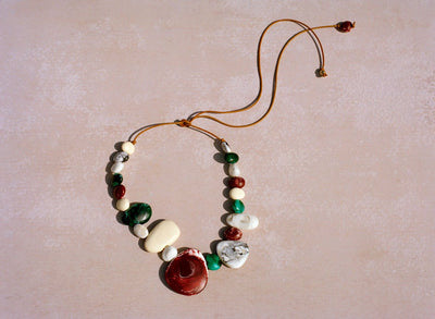 Resin Riverstone Necklace - Multi Natural