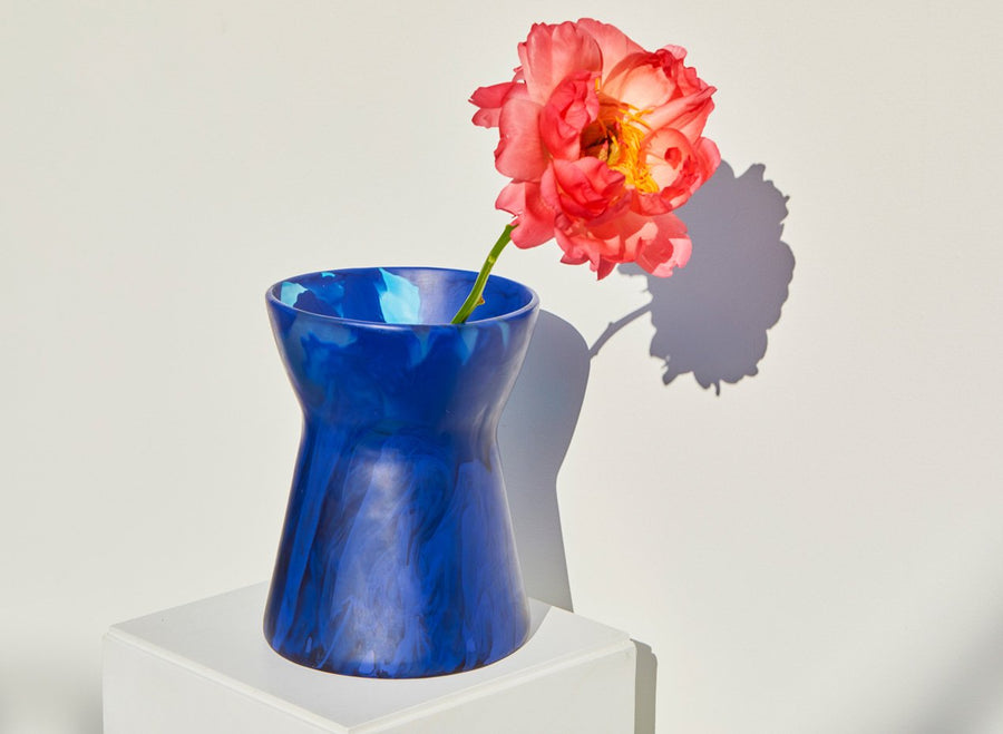 Resin Bow Vase - Cobalt
