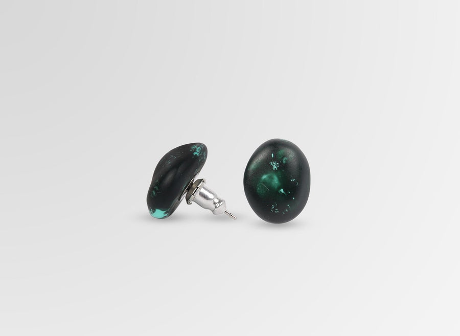 Resin Earth Stud Earrings - Forest
