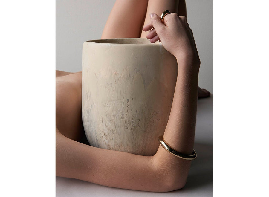Extra Large Resin Rock Vase - Sandy Pearl