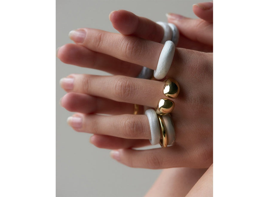 Resin Modern Tribal Band Ring - Abalone