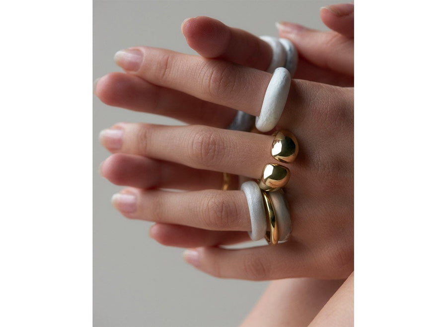 Resin Modern Tribal Band Ring - Sandy Pearl