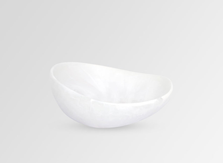 Resin Flow Dessert Bowl - Snow Swirl