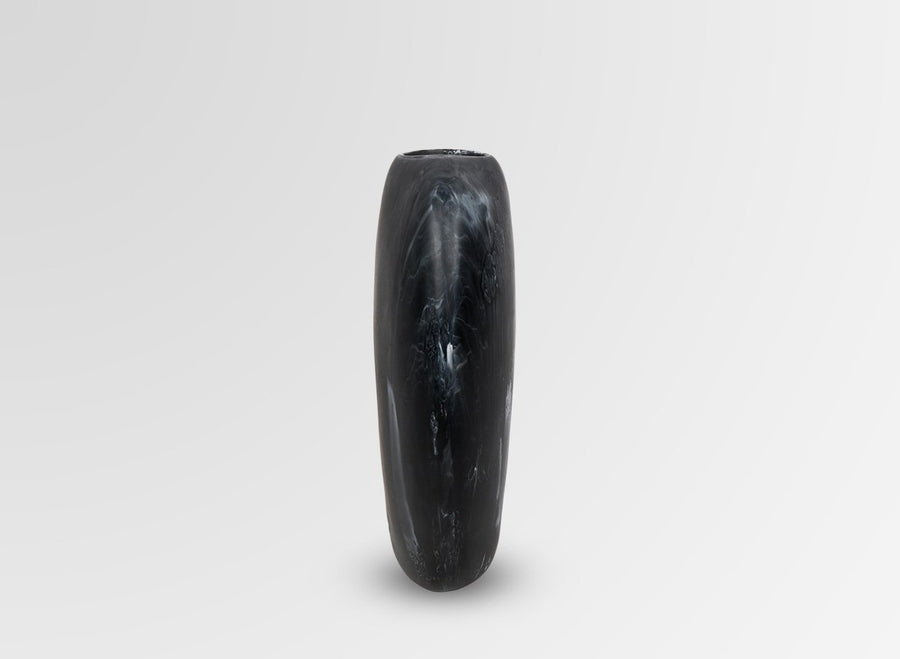 Bold Resin Skipping Stone Vase - Black Marble