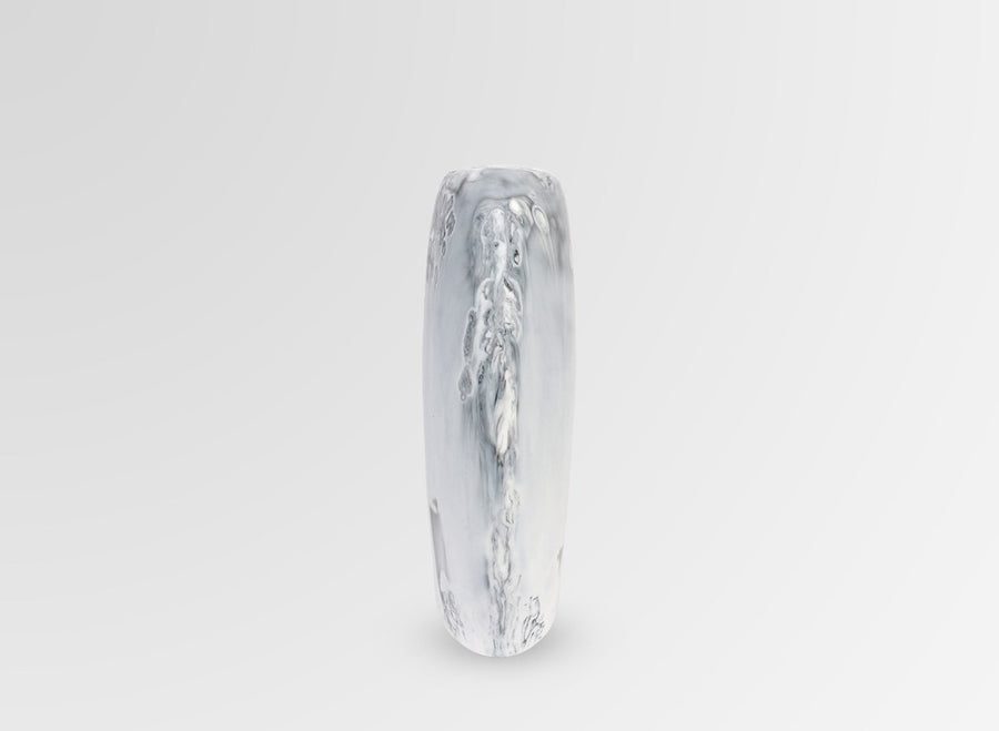 Bold Resin Skipping Stone Vase - White Marble