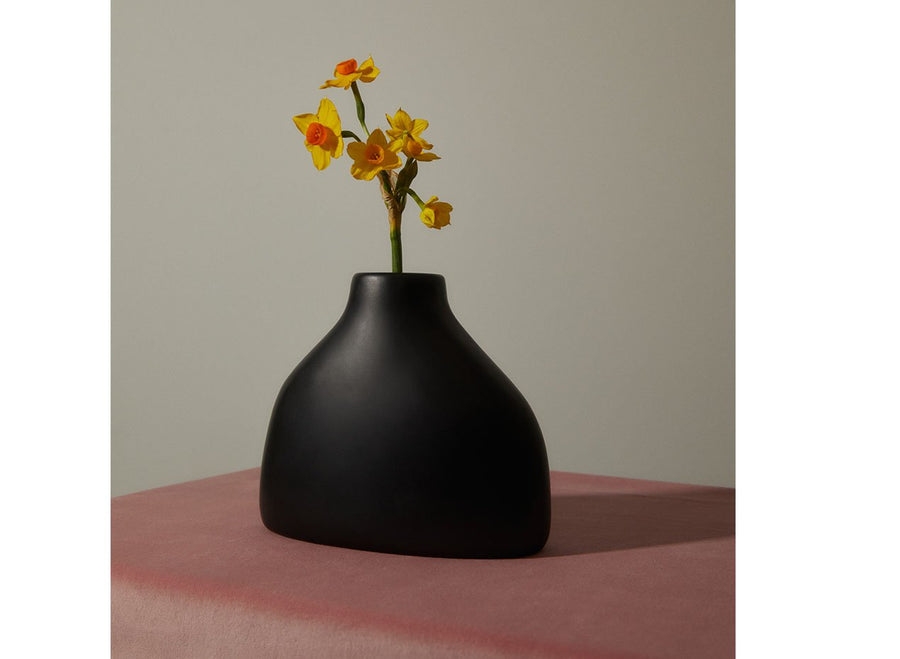 Resin Bottle Vase - Black