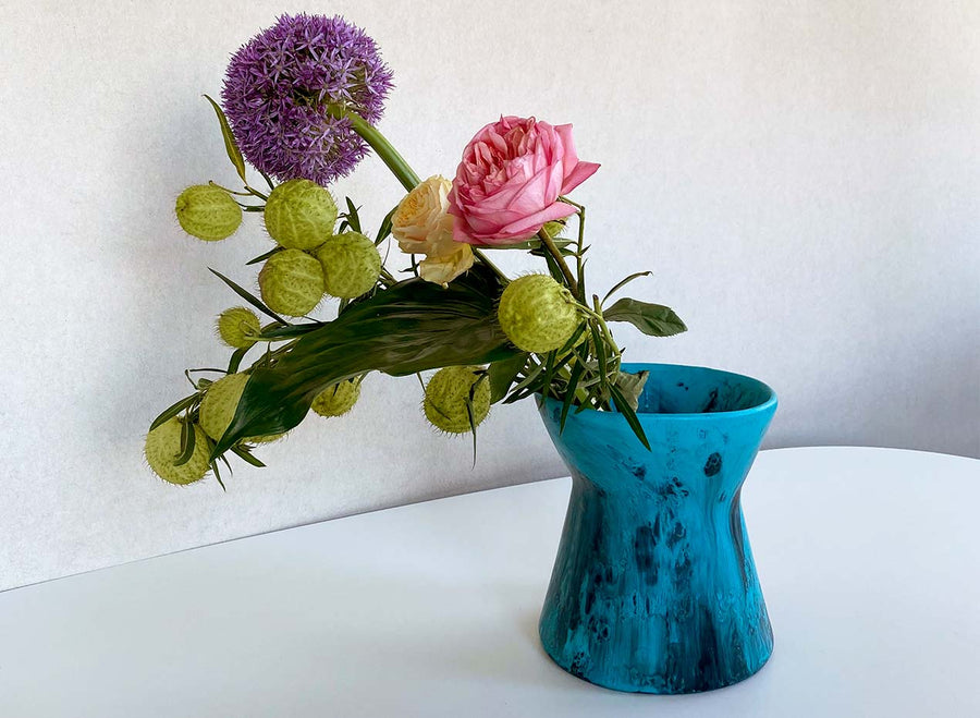 Resin Bow Vase - Dark Turquoise