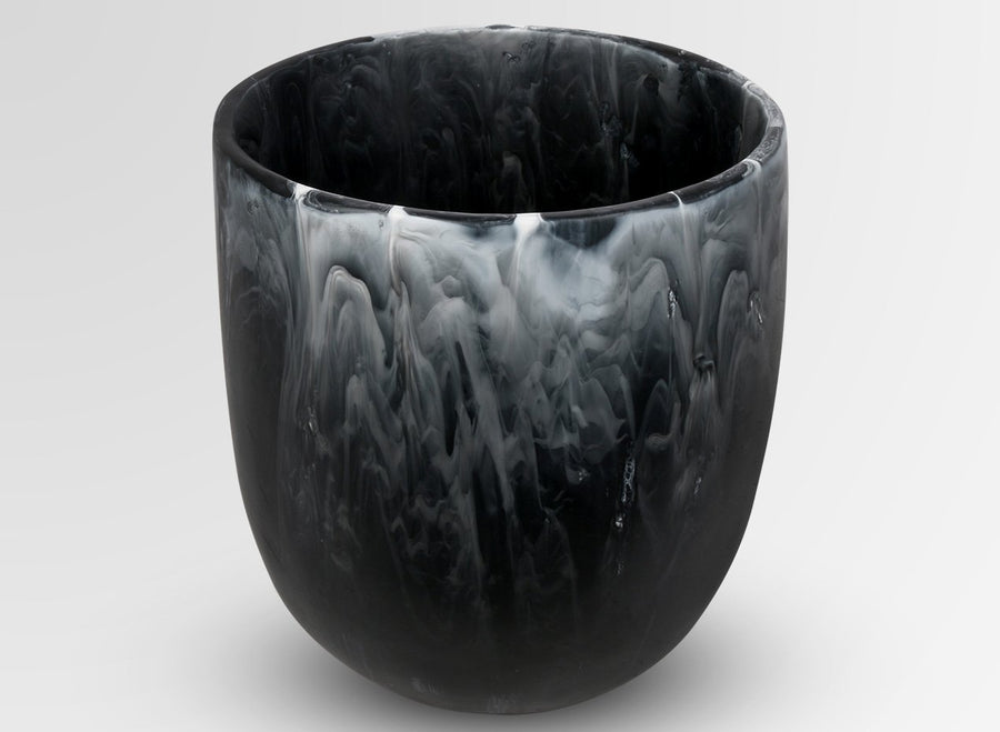 Extra Large Resin Rock Vase - Black Marble