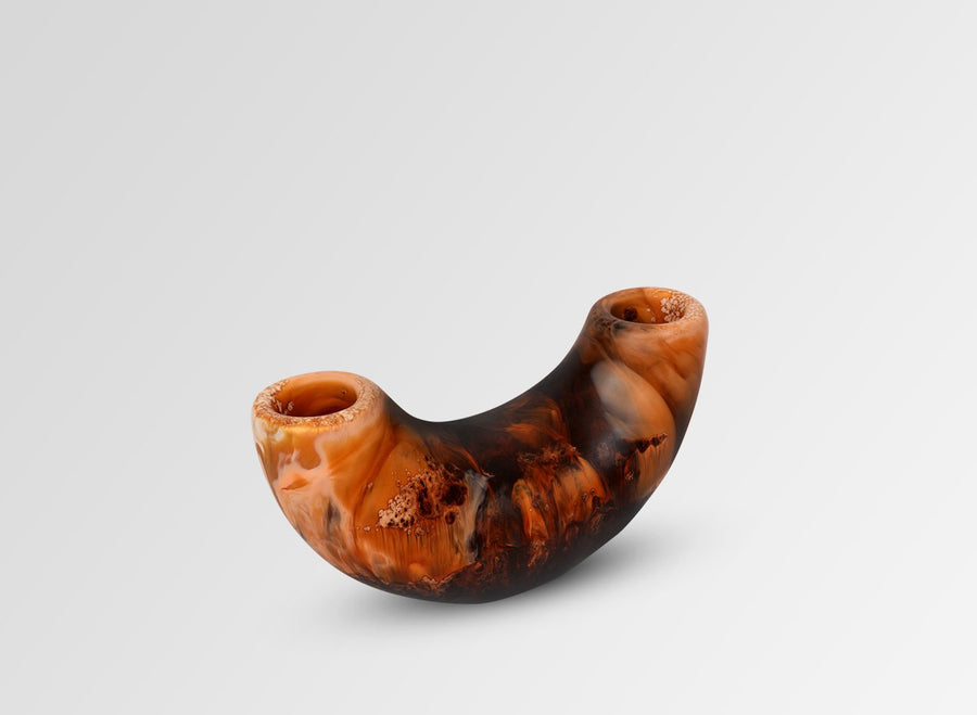 Small Resin Horn Vase - Dark Horn