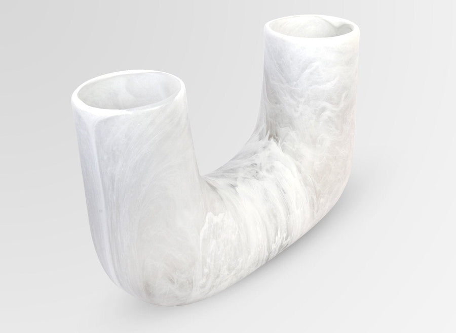 Large Resin Branch Vase - Snow Swirl