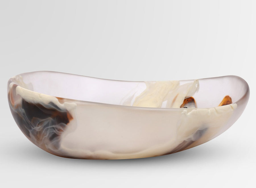 Large Resin Flow Bowl - Light Horn