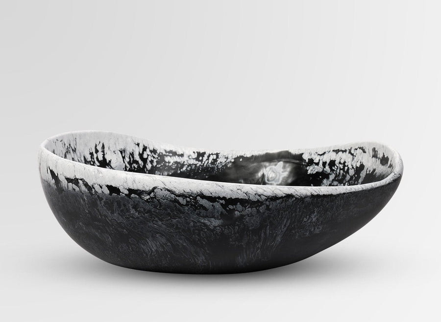 Large Resin Flow Bowl - Black Marble