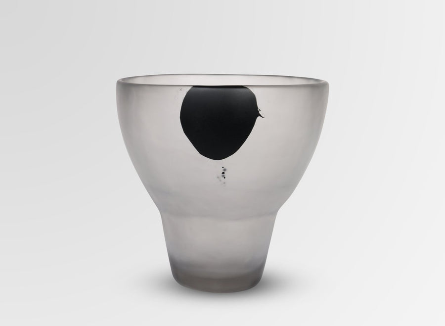 Large Resin Offering Vase - Black Dot on Charcoal