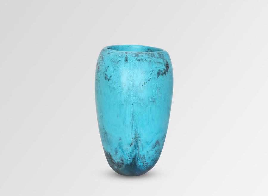 Large Resin Rock Vase - Dark Turquoise