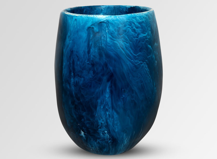 Extra Large Resin Rock Vase - Moody Blue