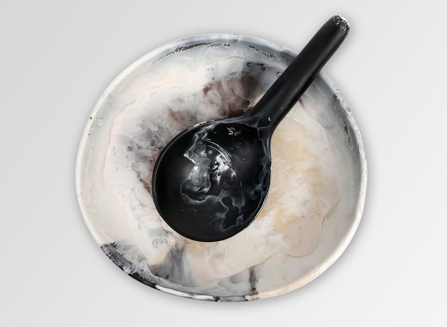 Large Round Resin Spoon - Black Marble