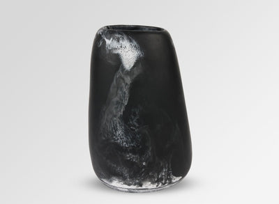 Large Resin Pebble Vase - Black Marble