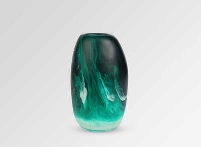 Medium Resin Pebble Vase - Emerald Swirl