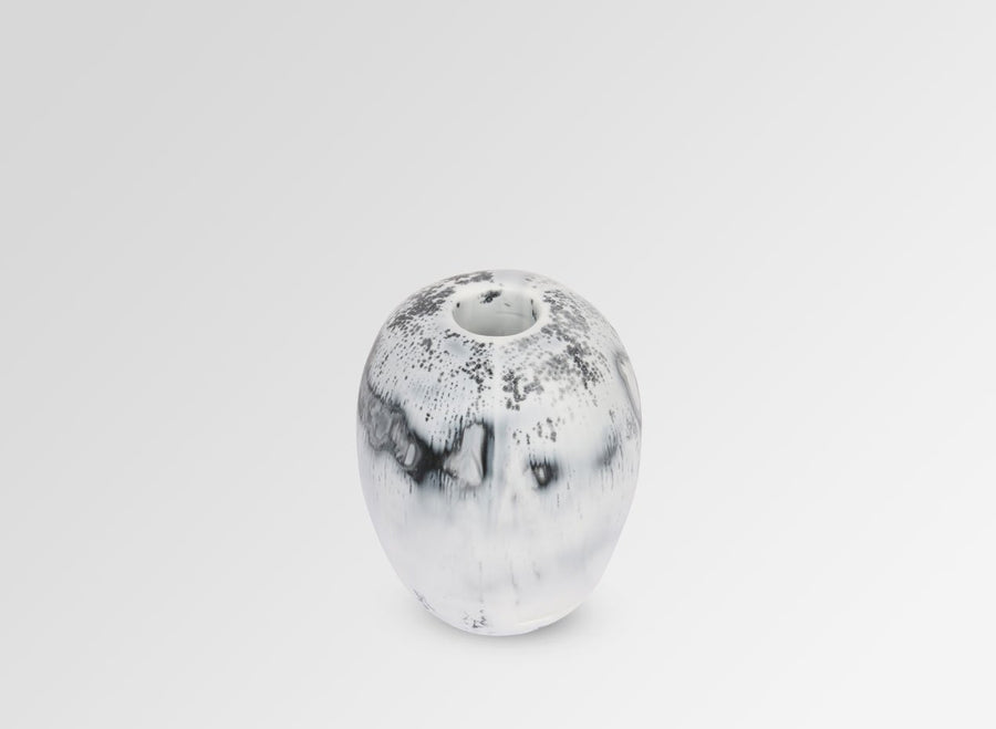 Medium Resin River Stone Vase - White Marble