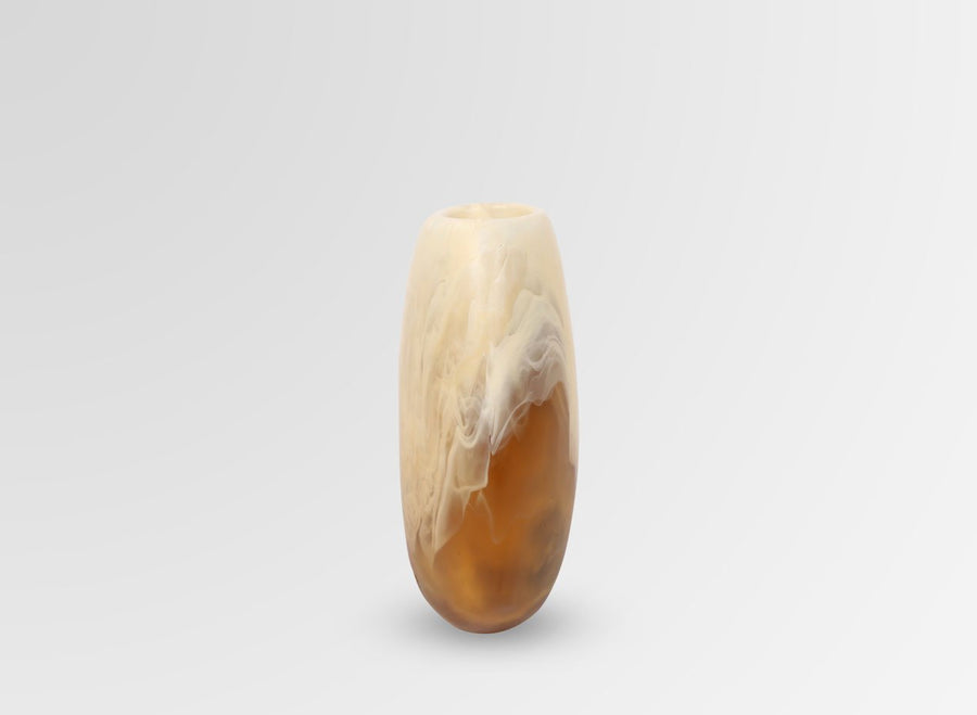 Medium Resin Skipping Stone Vase - Caramel Swirl