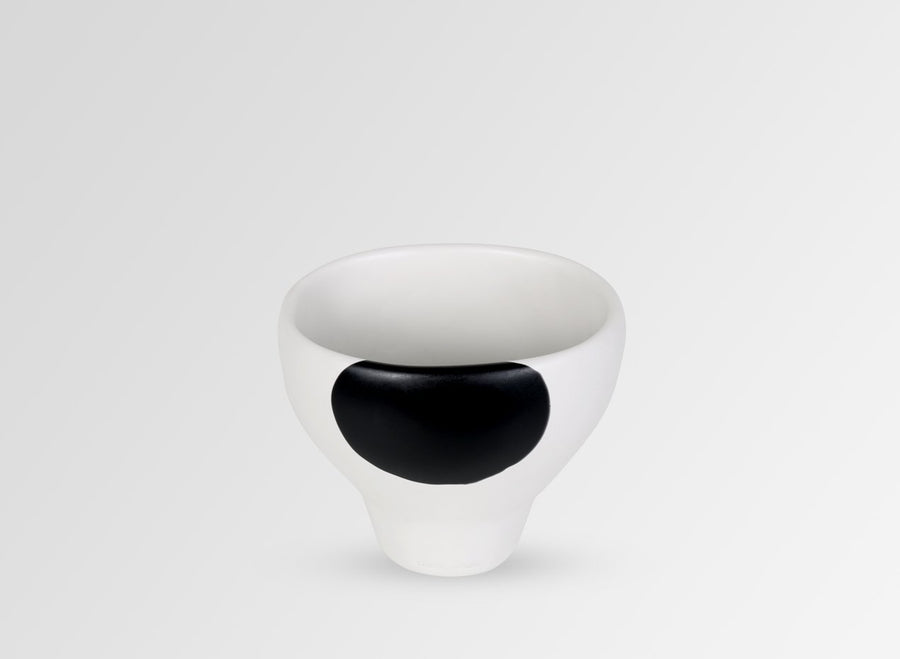 Small Resin Offering Vase - Black Dot on Chalk